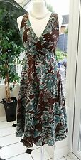 MATALAN AMARANTO TURQUOISE & BROWN FLORAL DRESS, LINED,  SIZE 8, EX CON