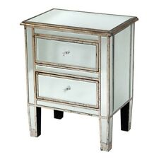 ANTIQUE SILVER CHAMPAGNE MIRRORED GLASS BEDSIDE CABINET LAMP TABLE (VEN9744)