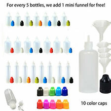 All Sizes Empty Plastic Squeezable Eye Dropper Bottles Cap with Funnels