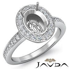 Oval Semi Mount Classic 1Ct Diamond Engagement Halo Pave Set Ring 18k White Gold