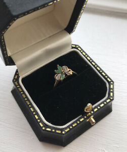 Dainty Emerald & Diamond 9Kt Carat 375 Yellow Gold Ring Size O