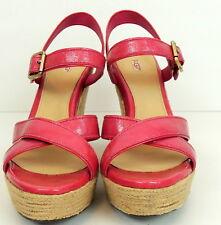 UGG Jackilyn 10 Pink Espadrille Platform Shoes Wedge Genuine Patent Leather