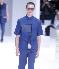 Authentic Dior Homme Spring 14 Runway Portrait Glossy Blue Shirt 37S thom browne