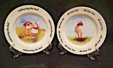 "Pair of Erika Oller Golf Motif 7.5"" Round Collector Plates"