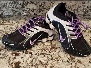 Womens Nike Shox Size 8.5 Running Shoes Black White Purple Nice