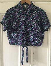 American Apparel Women's Purple Floral Cropped Short-Sleeve Shirt XS/S UK 4-6-8