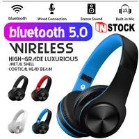 Foldable Wireless Bluetooth Headphones Stereo Earphones Super Bass Headset Mic
