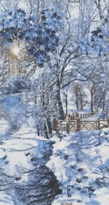 "WINTER SNOW SCENE Fabric Cotton Large Panel Craft Quilting The Wood 23"" x 44"""