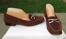 Women's CLAUDIA CIUTI Brown Suede Silver Buckle loafers shoes Sz. 8.5 M ~ Italy