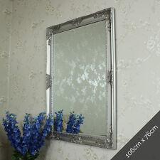 Ornate silver wall mounted mirror shabby vintage chic bedroom hallway bathroom