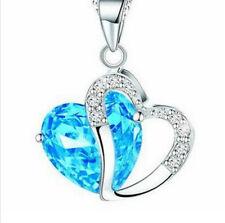 Silver Jewelry Version Of Sea Blue Color Heart Zircon Crystal Necklace
