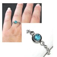 Bague fine chaine chainette acier (coul argent ) cristal bleu T 48 au 66 bijou