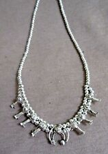 """Navajo Sterling Baby Squash Blossom Necklace 16.5"""" Signed Larry Curley JN399"""