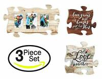 Love One Another Family Puzzle Piece Wall Plaques, Photo Frame Set of 3