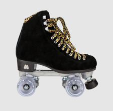 Moxi Panther Roller Skates Black Suede Riedell Size 7 ( Women's 8-8.5) New