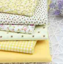 6pieces BUNDLE yellow/brown COTTON FABRIC STARS FLORAL Joblot Quilting Crafts