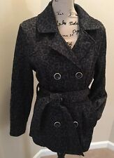 Free Spirit Gray Leopard Print Double Breasted Belted Jacket Coat Size PL