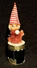 Vintage Celluloid Pixie Elf On Drum Christmas Ornament - Japan