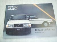 Volvo 240 Betriebsanleitung 1987 Bedienungsanleitung