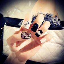 24pcs/pack black&white french false nails nail art design nail tips with glue NT