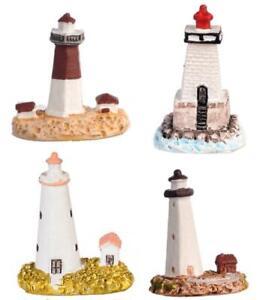 Dolls House Coastal Decor Nautical Ornament 4 Miniature Lighthouses