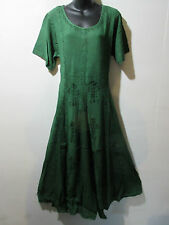 Dress Fits 1X 2X  Plus Long Green Embroidery Flared Pleated Lace Hem NWT G227