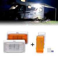 2 PACK 12V RV LED Porch Light rectangle clear amber lens camper RV trailer 280lm