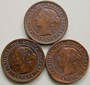 1882 1884 1893 Canada Canadian Large 1 Cent Victoria Coins - Lot Of 3