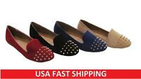 New Lady Fashion Spike Punk Studded Point Rivets Flats Shoes Loafers Oxfords