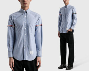 THOM BROWNE Oxford Blue Collar Button Up Shirt Grosgrain Arm Band Made in Japan