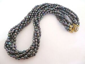 Estate 6 Strand Peacock Freshwater Pearl Torsade Necklace w/ Crystal Clasp