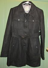 Tulle Juniors Women's Black Fully Lined Trench Coat - Size M