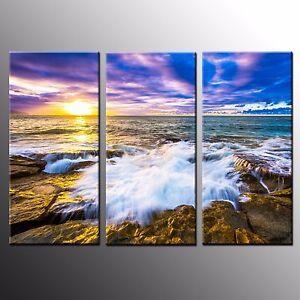 FRAMED Landscape Canvas Art Print Photo Wall Art Painting on Canvas Beach-3pcs