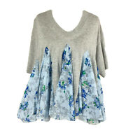 SACAI Top 1402005 Grey Tee with Blue Floral Floaty Accents Lagenlook Zoom Call