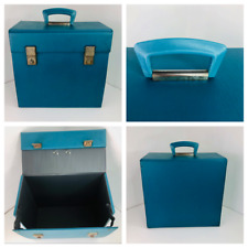 """Vintage Blue / Turquoise 12"""" vinyl Record Carrying Case Handle and Latch 70's A1"""