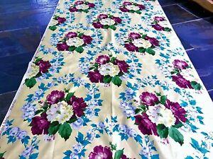 SALE Cottage Yellow Floral Barkcloth Era Chintz Vintage Fabric Drape Curtain 40s