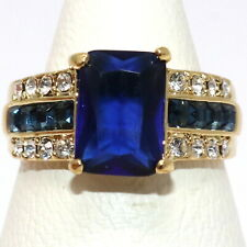Sparkling Blue Sapphire Ring Women Birthday Jewelry Gift 14K Yellow Gold Plated