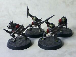 4 x Moria Goblins with swords for Lord of the Rings (painted, based & varnished)