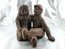 Alte Skulptur Ton Figur Paar Mann und Frau Holland Paar signiert HT