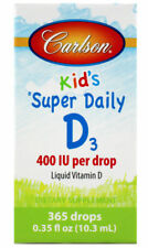 Carlson Super Daily D3 400 IU per Drop Liquid Vitamin D for Kids 365 Drops New