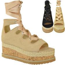 Womens Ladies Lace Up Ribbon Espadrilles Wedge Flatforms Flat Sandals Shoes Size