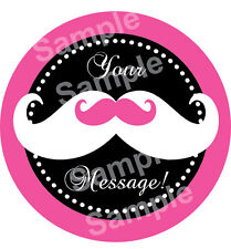 PINK MUSTACHE Edible Cake Topper Frosting Sheet Image Round PERSONALIZED!