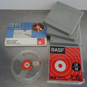 BASF Tonband Spulen 4 Bandspulen 1x NEU in Kassette 1 Leerspule und Archiv Mappe