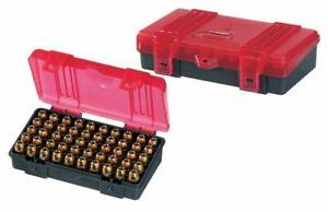 Plano 50 Count Handgun Ammo Hard Case Grey/Red Ammunition Box 9mm, .38 .44 .45