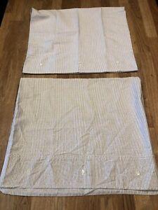 2 Vintage RALPH LAUREN Standard Blue White Oxford Stripe button pillowcases