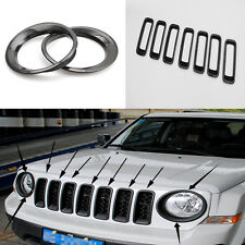 Black Chrome Front Grille Grill + Light Lamp Cover Trim For 2011-15 Jeep Patriot