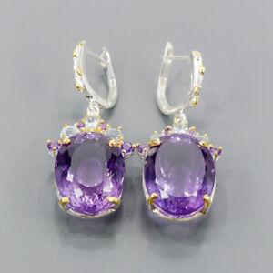 45ct+ Handmade SET Amethyst Earrings Silver 925 Sterling   /E51782
