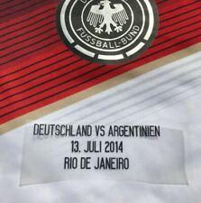 Deutschland - Argentinien Match Detail Finale WM 2014 Patch Flock für Trikot DFB