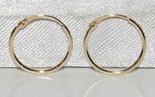 9CT GOLD SMALL PLAIN 10mm HINGED SLEEPER HOOP EARRINGS - PAIR - SOLID 9CT GOLD