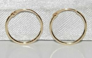 9CT GOLD CHILDREN'S 10mm HINGED SLEEPER HOOP EARRINGS - CHILD'S - SOLID 9CT GOLD